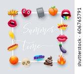 set of fantastic summer time...   Shutterstock .eps vector #606765791