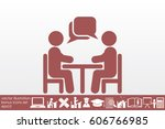 vector illustration people at a ... | Shutterstock .eps vector #606766985