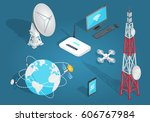 set of wireless connection on... | Shutterstock .eps vector #606767984