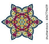 mandala. vector ethnic oriental ... | Shutterstock .eps vector #606774659