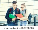 student couple in university... | Shutterstock . vector #606780089