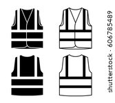 reflective safety vest black... | Shutterstock .eps vector #606785489
