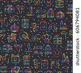 party celebration seamless... | Shutterstock .eps vector #606794081
