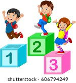 kids playing with number blocks