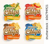 set of different chips. vector... | Shutterstock .eps vector #606794921