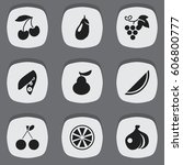 set of 9 editable berry icons....   Shutterstock .eps vector #606800777