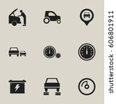 set of 9 editable traffic icons.... | Shutterstock .eps vector #606801911