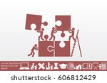 puzzle and people icon vector... | Shutterstock .eps vector #606812429