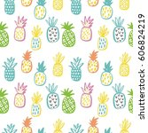 summer print with pineapple | Shutterstock .eps vector #606824219
