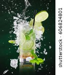 fresh mojito drink with liquid... | Shutterstock . vector #606824801