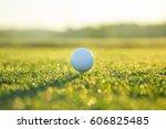 close up of golf ball on tee ... | Shutterstock . vector #606825485