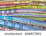 Stacks Of Colorful Thai Fabric