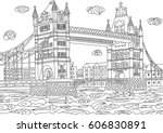 coloring for adult with london. ... | Shutterstock .eps vector #606830891
