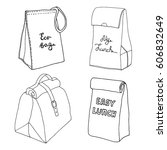 lunch bag collection. easy...   Shutterstock .eps vector #606832649