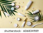 natural cosmetics and leaves on ... | Shutterstock . vector #606834989