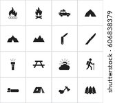 set of 16 editable camping...   Shutterstock . vector #606838379