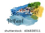 portugal. hand drawn watercolor ... | Shutterstock .eps vector #606838511