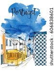 portugal. hand drawn watercolor ... | Shutterstock .eps vector #606838601