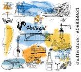 portugal. hand drawn vector set ...   Shutterstock .eps vector #606838631