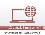 laptop icon vector illustration ... | Shutterstock .eps vector #606839915