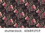 floral seamless pattern. hand... | Shutterstock .eps vector #606841919