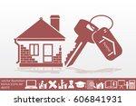 house key hand vector icon   Shutterstock .eps vector #606841931