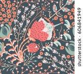 floral seamless pattern. hand... | Shutterstock .eps vector #606841949
