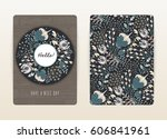 cover design with floral... | Shutterstock .eps vector #606841961