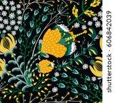 floral seamless pattern. hand... | Shutterstock .eps vector #606842039