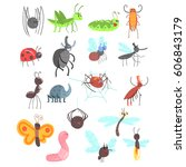 Cute Friendly Insects Set With...