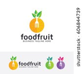 food fruit  vector logo template | Shutterstock .eps vector #606844739