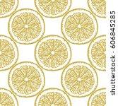 golden lemon slices seamless...   Shutterstock .eps vector #606845285