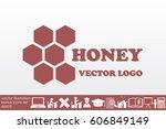 honey logo icon vector... | Shutterstock .eps vector #606849149