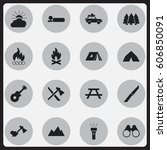set of 16 editable travel icons.... | Shutterstock . vector #606850091