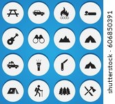 set of 16 editable travel icons.... | Shutterstock . vector #606850391