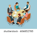 office staff at the round table ... | Shutterstock .eps vector #606852785
