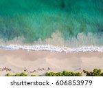 narrow beach line  waves and... | Shutterstock . vector #606853979