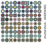 set of design elements 100... | Shutterstock .eps vector #606856481