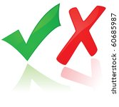 Glossy jpeg illustration showing a green check mark and a red X - stock photo