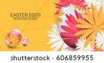 happy easter day  vector... | Shutterstock .eps vector #606859955