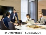 business people working in... | Shutterstock . vector #606860207