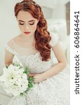 young red haired girl bride... | Shutterstock . vector #606864641