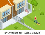 man mowing the lawn with yellow ... | Shutterstock .eps vector #606865325