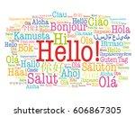 hello word cloud in different... | Shutterstock .eps vector #606867305