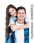 cute couple embracing and... | Shutterstock . vector #606868511