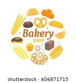 cartoon color bakery round... | Shutterstock .eps vector #606871715