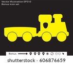 train  toy  icon  vector... | Shutterstock .eps vector #606876659