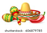 a mexican sombrero hat  red... | Shutterstock . vector #606879785