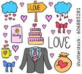 vector illustration of wedding... | Shutterstock .eps vector #606885281