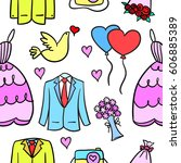 collection stock of wedding... | Shutterstock .eps vector #606885389